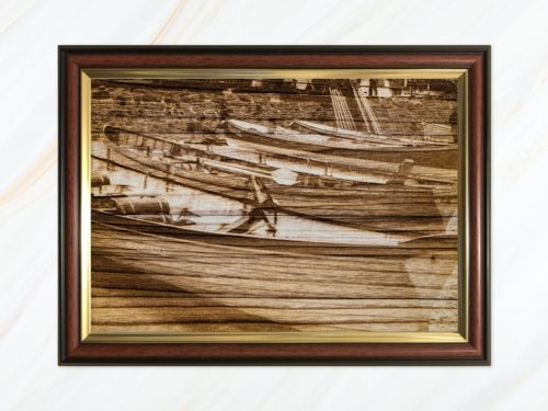 Wooden pyrograph of gigs on Town Beach 6