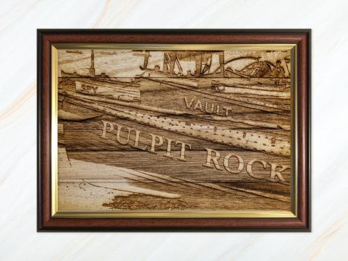 Wooden pyrograph of Pulpit Rock, Spy and Vault