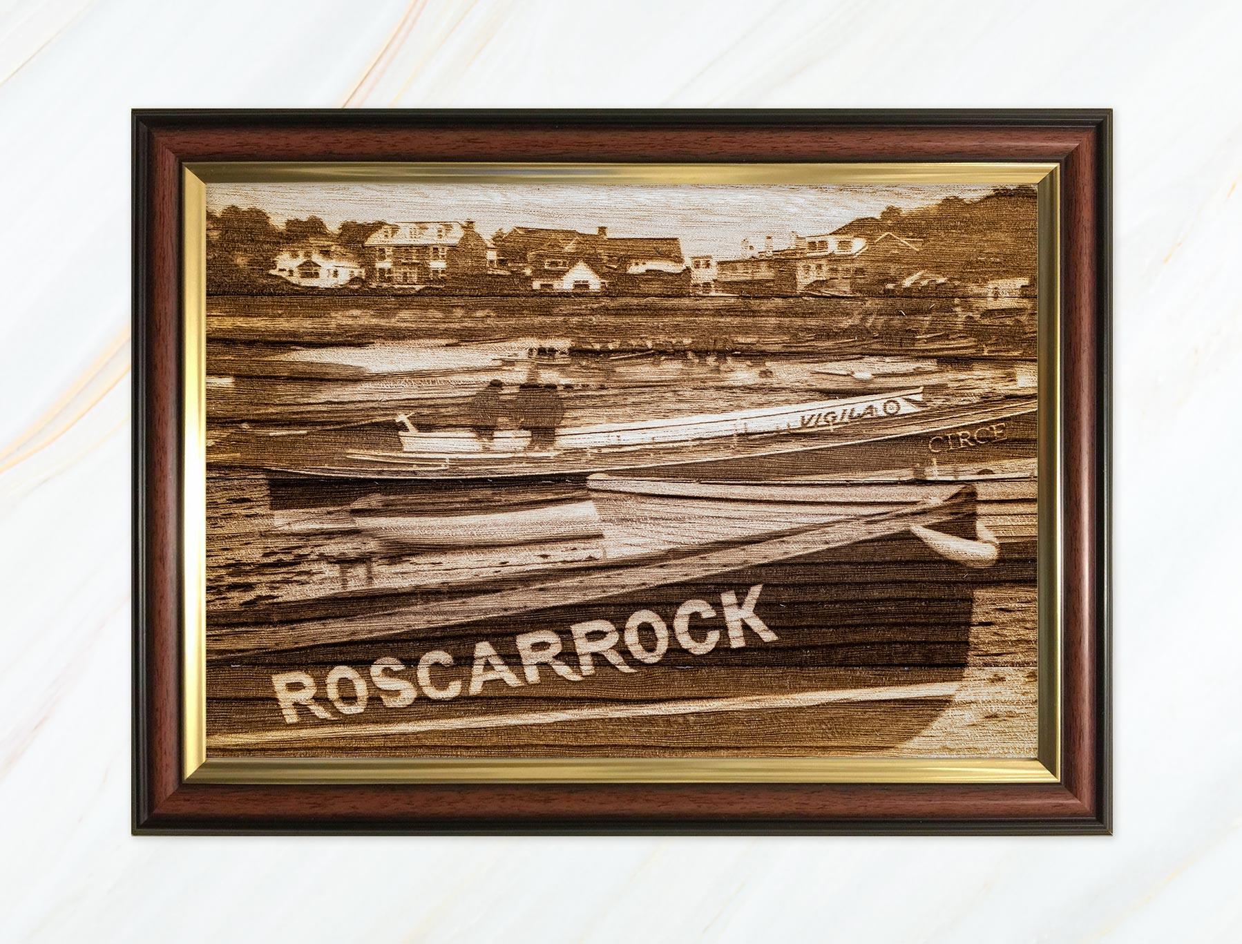 Wooden pyrograph of Roscarrock