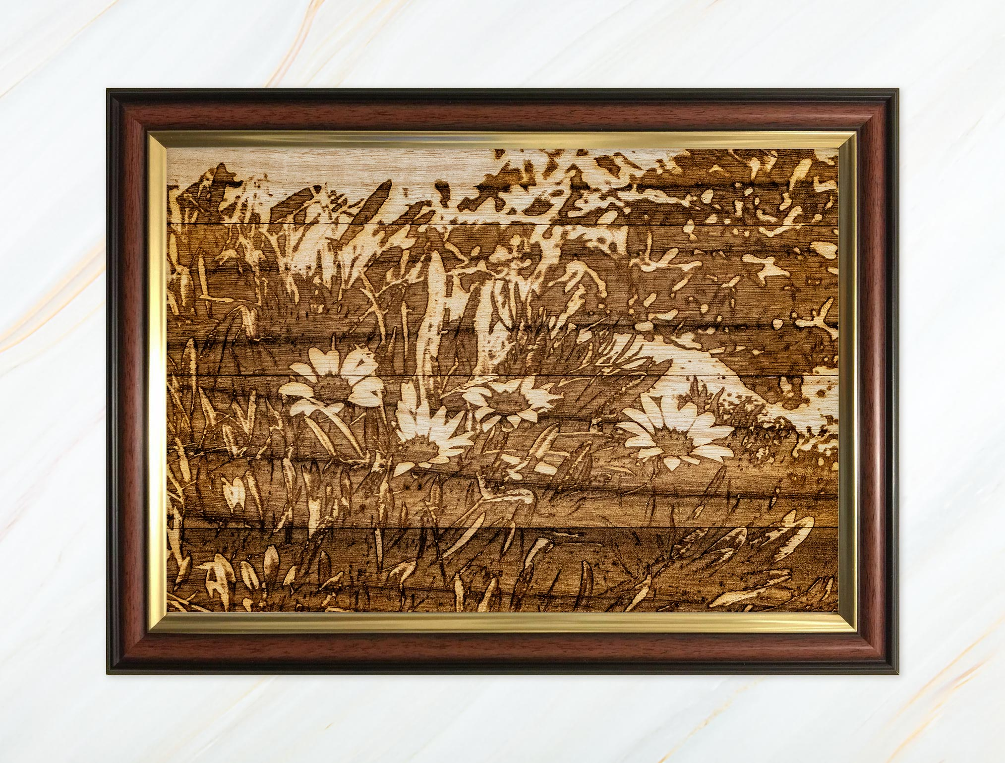 Wooden pyrograph of flowers in Scilly