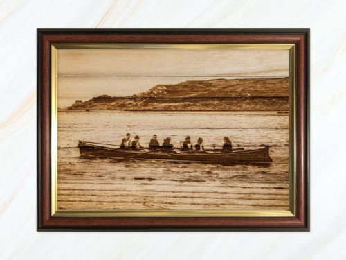Wooden pyrograph of Leander