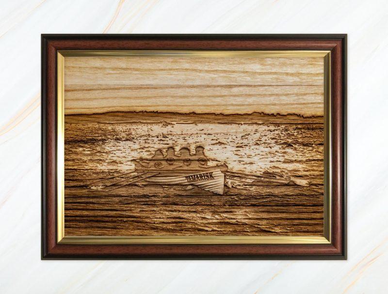 Wooden pyrograph of Tamarisk racing