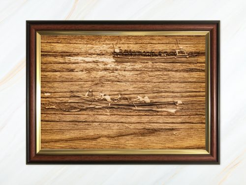 Wooden pyrograph of Shah racing