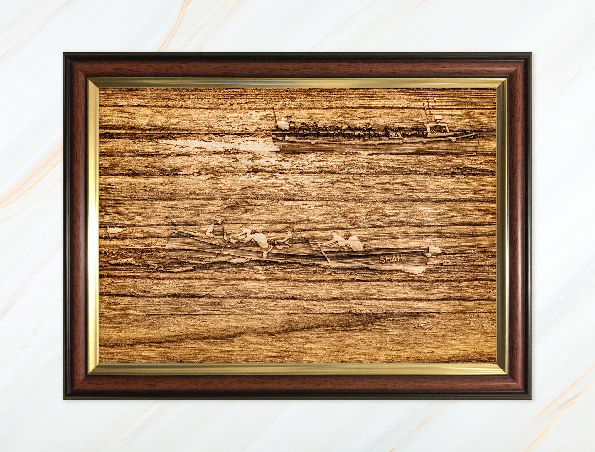 Wooden pyrograph of Shah racing