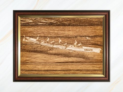 Wooden pyrograph of Grace racing