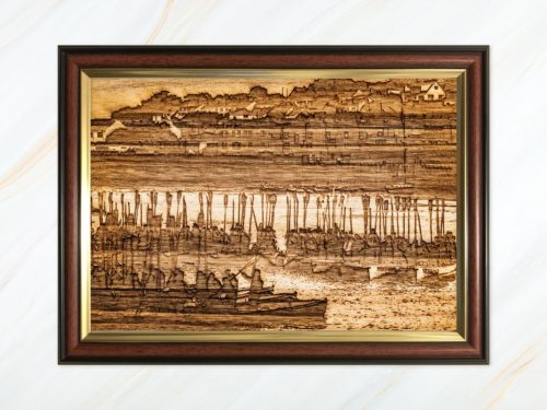 Wooden pyrograph of gigs rafting up