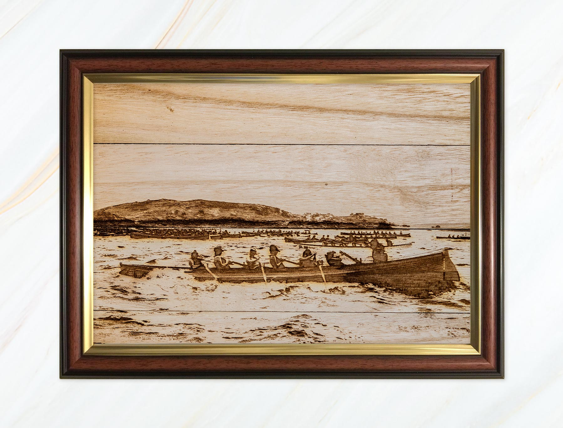 Wooden pyrograph of St Agnes start line