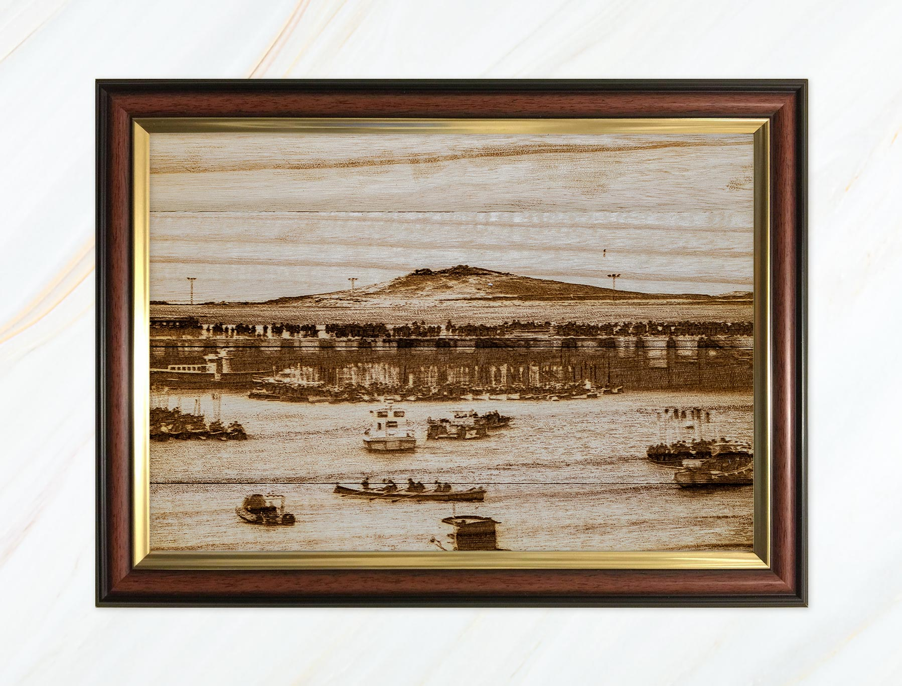 Wooden pyrograph of Samson and gigs rafting