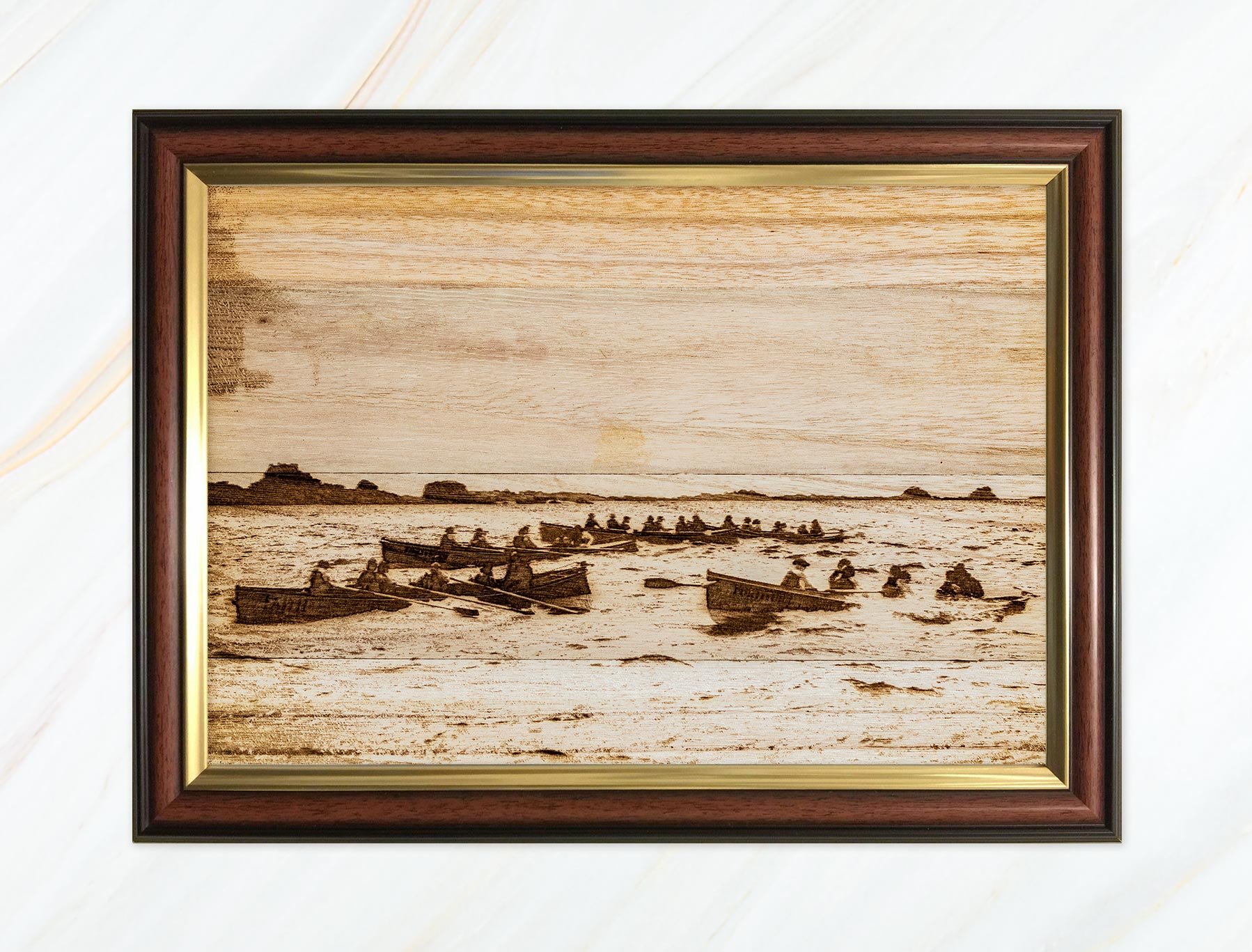 Wooden pyrograph of Faith and Fortitude racing