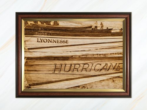 Wooden pyrograph of Hurricane, Lyonnesse, Rhos and Fury