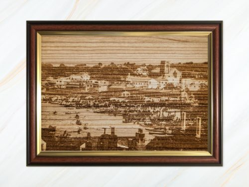 Wooden pyrograph of gigs along Town Beach