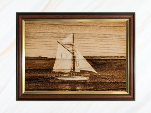 Wooden pyrograph of Bristol Cutter in Scilly