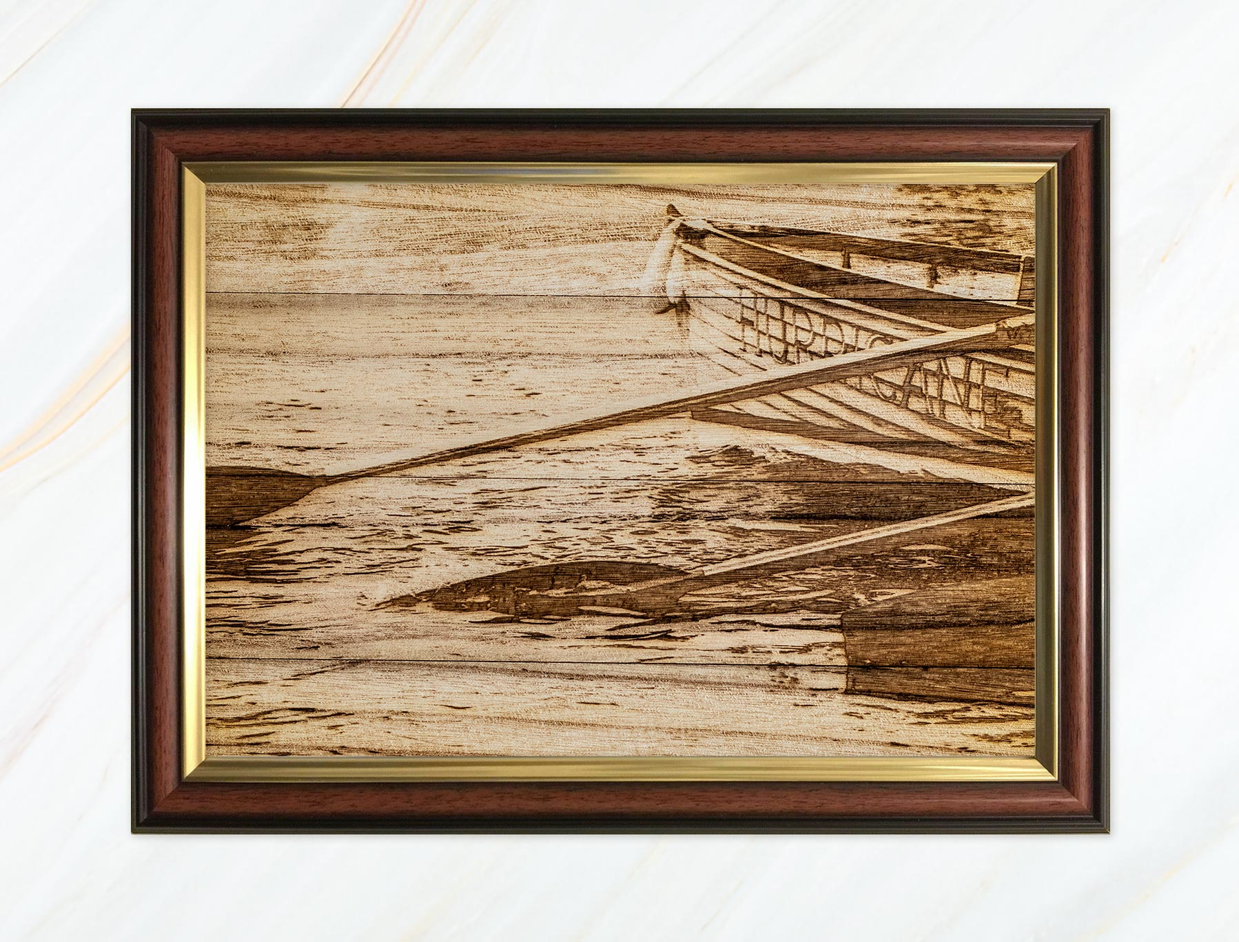Wooden pyrograph of Hurricane
