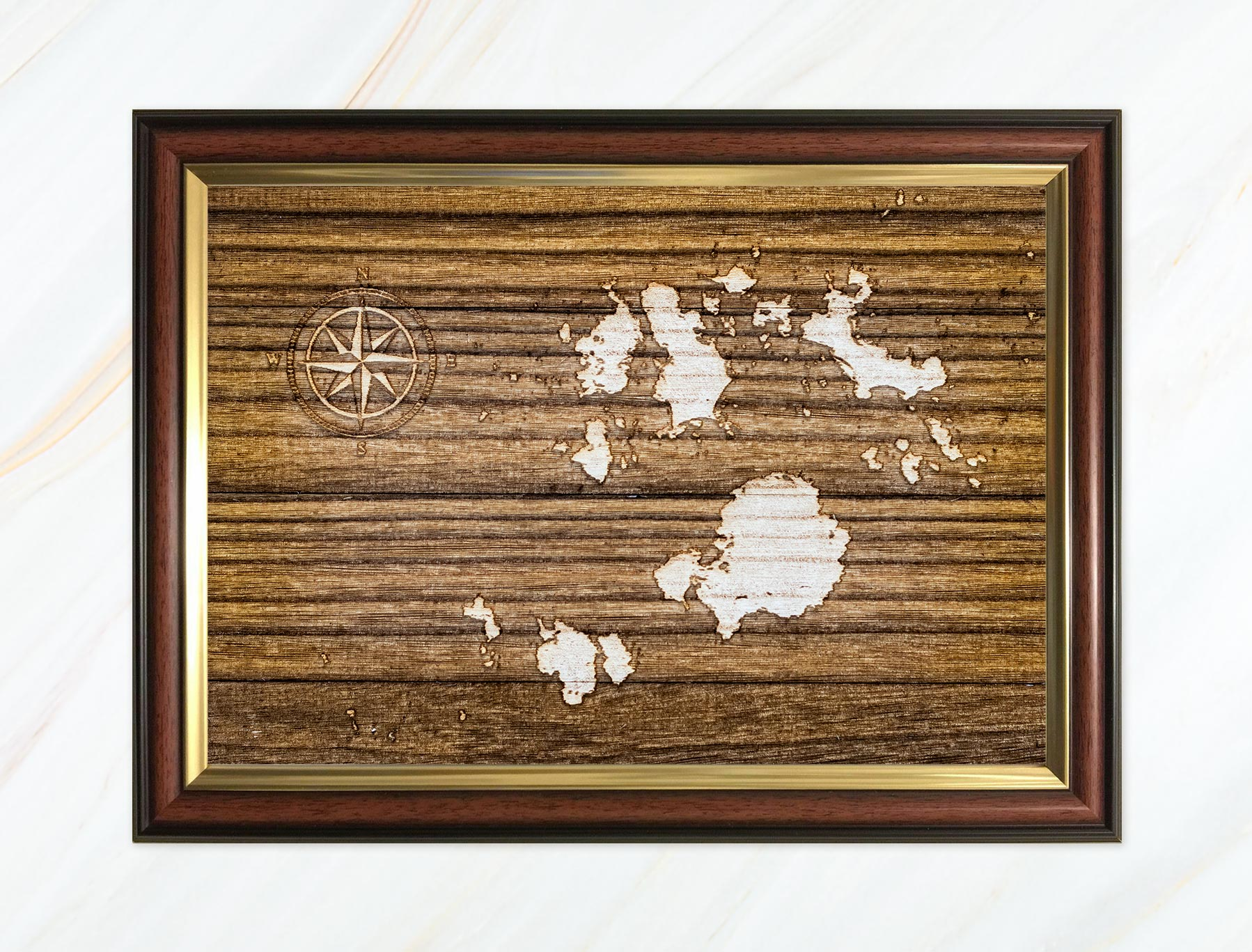 Wooden pyrograph of Isles of Scilly dark