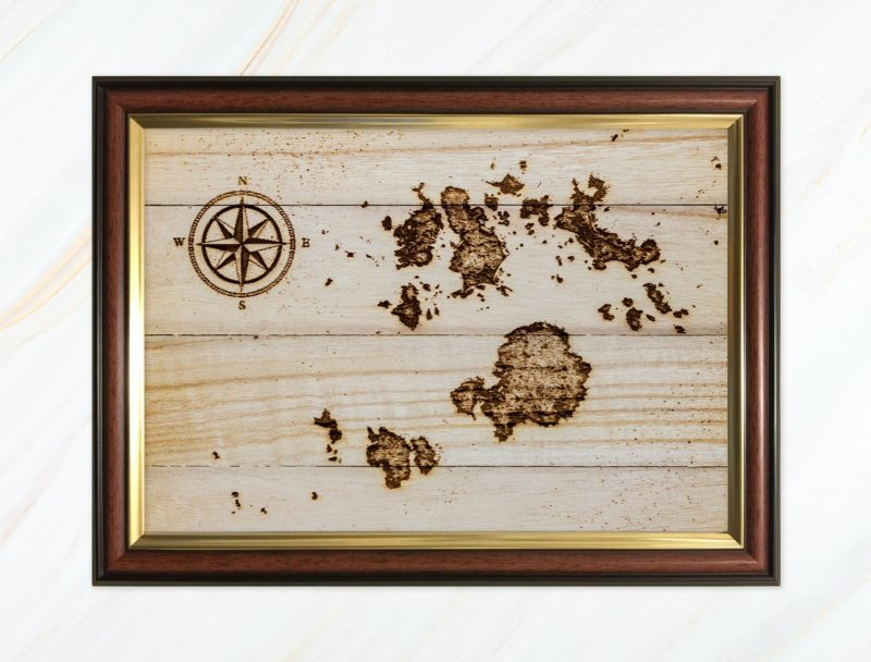 Wooden pyrograph of Isles of Scilly