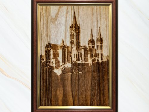 Wooden pyrograph of Truro Cathedral