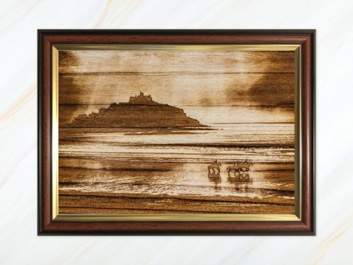 Wooden pyrograph of St Michael's Mount 1