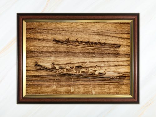 Wooden pyrograph of two gigs racing