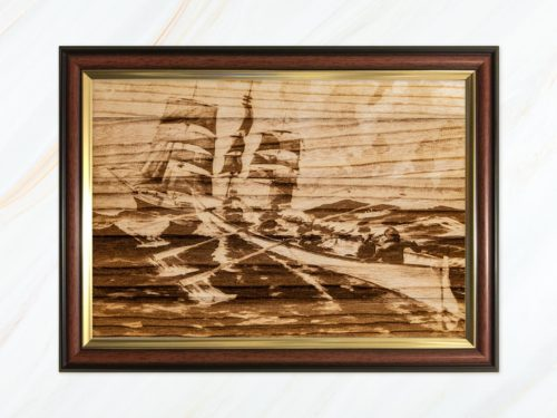 Wooden pyrograph of Sussex and square rigger