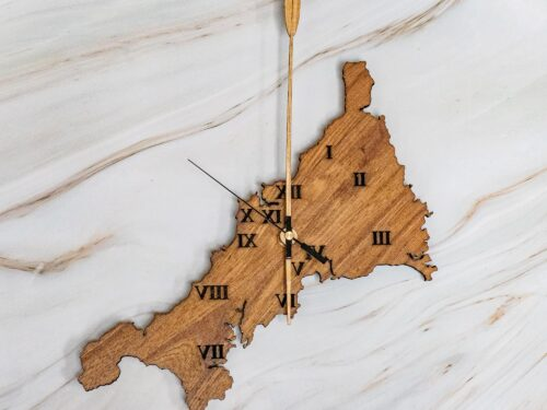 Elm clock in the shape of Cornwall
